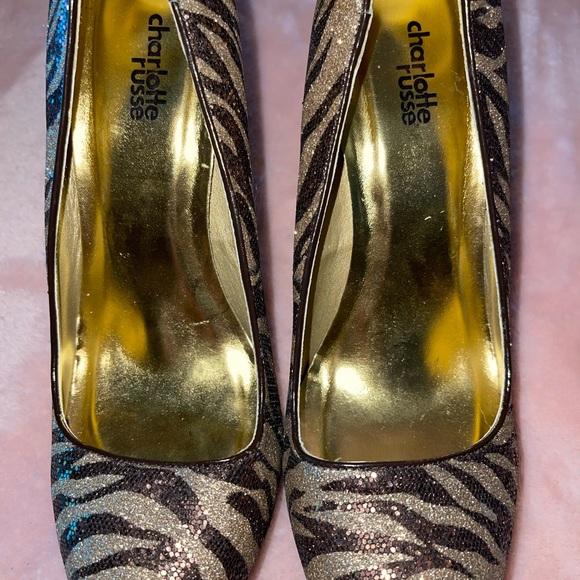 Sparkle Zebra Print High Heels